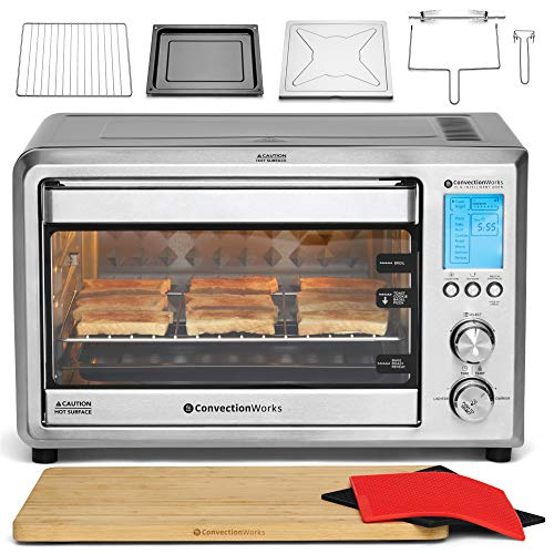 ConvectionWorks Hi-Q Intelligent Countertop Oven Set, 9-Slice XL Convection Oven Toaster w/ Bamboo...