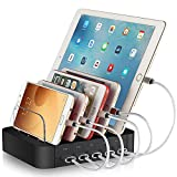 REXIAO 5 Port USB Charger Station - Electronic Charging Dock for Multiple Devices, Multi Cell Phone Charger Stand Compatible with iPhone ipad and Other Phones Tablet (5 Short Cable Included)
