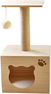 Classic Multifunctional Luxury Villa Cat Tree Wooden Cat Climbing Play Tower with Heavy Duty Sisal Activity Centre with Extra Post Dangling Toy for Kittens & Pets