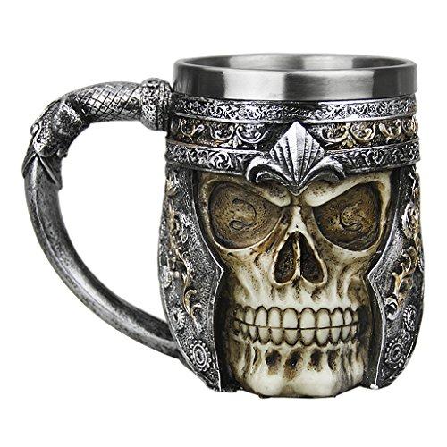 BXT Novelty Decorative Skull Mug Cup Tankard Stainless Steel Gothic Coffee Tea Drinking Cup for Halloween Christmas Birthday (Skull Mug-B)