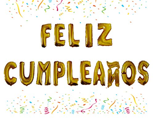 Globos Feliz Cumpleaños Letras Español, Decoración Aniversario Para Fiestas, Globos Aluminio (Dorado)