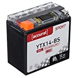 Accurat Motorradbatterie YTX14-BS 12Ah 200A 12V Gel Technologie + LCD Display Starterbatterie leistungsstark rüttelfest ABS geeignet wartungsfrei