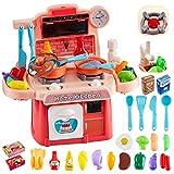 HERSITY 26 Piezas Alimentos de Juguete Cocina de Juguete Infantil con Luz y Sonido Juego de Imitación Regalos para Niños Niñas