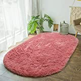 Terrug Fluffy Area Rug for Bedroom Living Room,Soft Oval Girls Rugs for Kids Room Baby Nursery,Dirty Pink Carpet for Dorm Teen's Room-Home Decor Shaggy Plush Throw Rug 2.6 x 5.3 Feet Dirty Pink