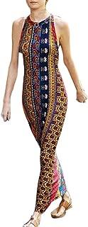 Sunday88 Women Sleeveless Dress Ladies Sling Halter Boho Print National Style Loose Long Maxi Dresses Evening Party Dress
