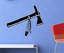 Muursticker Indianen Western India Tomahawk sticker autosticker deursticker WC deur bad auto 5A114, kleur: zwart mat, bree...