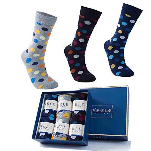 Vkele 6 Paar Damensocken und Herrensocken, Crew Socken, Perfekt als Weihnachtsgeschenke, gepunktet & geringelt, socken box, 43 44 45 46, Baumwolle