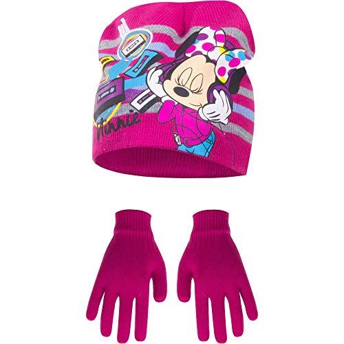 Disney Minnie - Juego de gorro y guantes para niña Rosa fucsia...