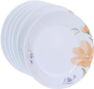 Corelle Begonia AC Glass Medium Plate Set, 21.6cm, Set of 6, White