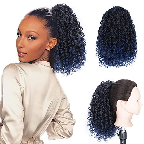 AISI BEAUTY Curly Ponytail Extension Drawstring Ponytails for Black Women Synthetic Curly Drawstring Ponytail with 2 Clips on Ponytails for Women (T1B/Blue)