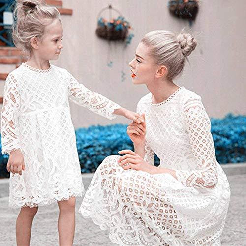 YUANYIRAN Madre Hija Vestidos,Floral Encaje Primavera Madre E Hija Vestidos Boda Mami Y Yo Fiesta Vestido Familia A Juego Ropa para Madre E Hija Señoras Trajes De Niña
