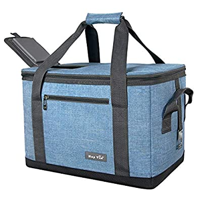 Hap Tim Soft Cooler Bag 40-Can Large Reusable Grocery Bags Upgraded Soft Sided Collapsible Travel Cooler for Outdoor Travel Hiking Beach Picnic BBQ Party