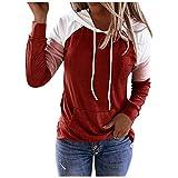 VEMOW Sudadera con Capucha para Mujer Mangas largas, 2021 Nuevo Elegantes Moda Cordón de Costura Pullover Blusas Camisetas Chica Baratas Tallas Grandes Standard Hoodie(Rojo,L)