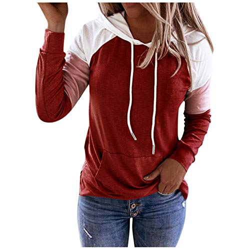 SEWORLD Women Hoodie Sweatshirt Casual Pullover Tunic Top Long Sleeve Shirt Pullovers Hooded Jacket Coats Red
