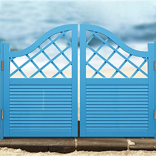 FENGSR Pine Wooden Swinging Door Swinging Cafe Doors Hinge Included Garden Patio Entrance Use Support Customize (Color : Blue, Size : 80x90cm)