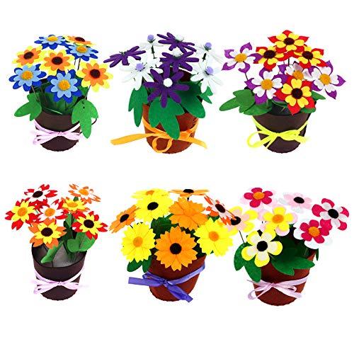 LAITER 6 Kit de costura Fieltro Diy Plantas para niños en maceta Tela multicolor Estilos diferentes Juegos Artesanías Tela Actividad creativa Decoraciones Hecho a mano