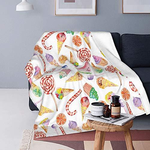 QINCO Suave Micro Lana Manta de Tiro Decor del Hogar,Impresión de Pasteles de Caramelos deliciosos Coloridos,Ligero Sofá Cama Edredón de Franela,50' x 60'