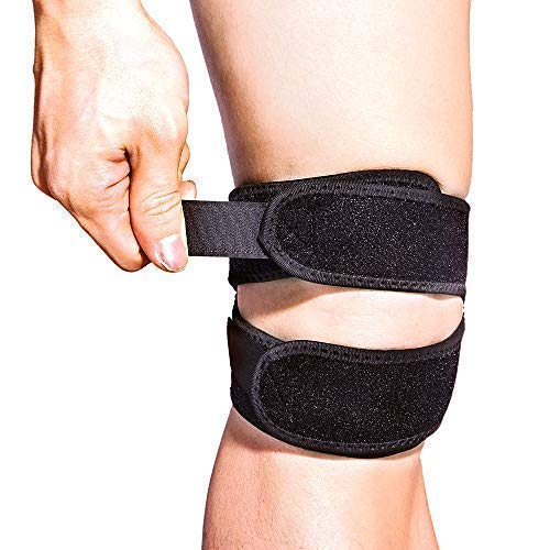 Patella Knee Strap Support Dual for Knee Pain Relief, Supcare Adjustable Knee Brace Support Knee Band for Running/Jumping/Baseball/Workout/Squats, Men Women Knee Brace Strap Black 12'' - 17''
