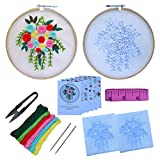 Embroidery Hobby Beginners Hand Embroidery Tutorial DIY Kit with 5 Different Types of Embroidery Stitches (7 Items)