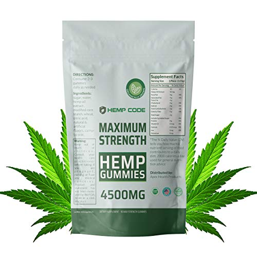 Hemp Gummies 4500 MG | Maximum Strength! Organic Hemp Extract Infused- Promotes Sleep and Helps Relieve Pain, Anxiety, Stress, and Nausea- Maximum Strength Hemp Gummies- Sleep Better- by Hemp Code