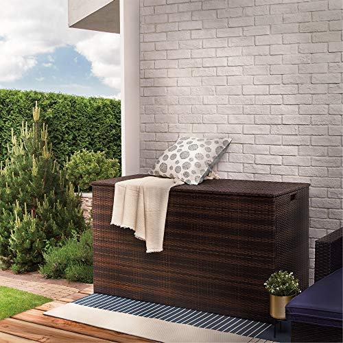 Peaktop Rattan Outdoor Garden Patio Furniture 672 Litre XL Storage Box Conservatory Chest PT-OF0010, Dark Brown