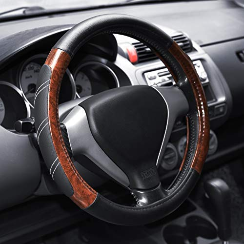 Elantrip Wood Grain Steering Wheel Cover Leather 14.5 to 15...