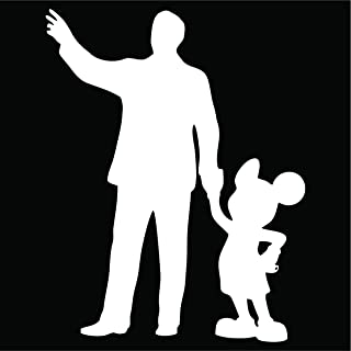Cove Signs Walt & Mickey Partners Decal/Sticker - White 4""