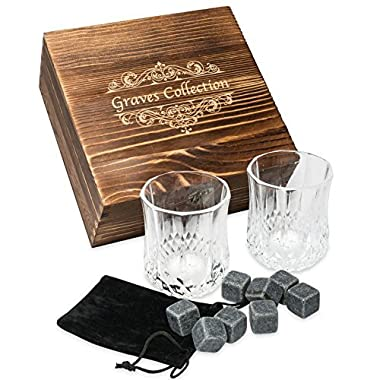 Whiskey Stones Set with 2 Large (7oz) Crystal Whiskey Glasses – Whiskey Set in Handmade Box includes 8 Granite Chilling Stones and Velvet Bag Whiskey Gifts Father's Day Gift