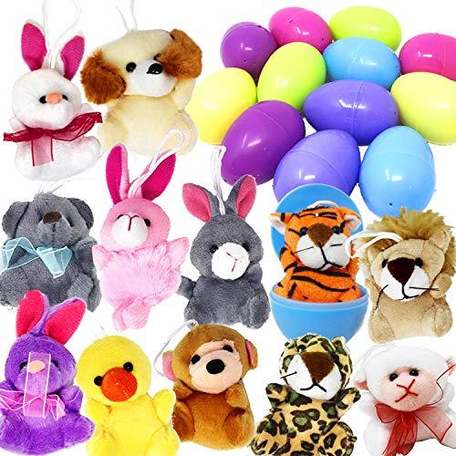 JOYIN Paquete de 12 precargada Huevos de Pascua de Mini Animal de Peluche Juguetes de Peluche Pascua baster embutidora para los niños del Huevo de Pascua Relleno embutidora