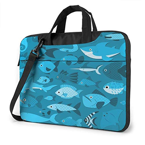 Laptop Messenger Laptop Bag Blue Funny Cartoon Fishes Shoulder Bag Briefcase Office Laptop Sleeve Case Satchel Tablet for Men Women