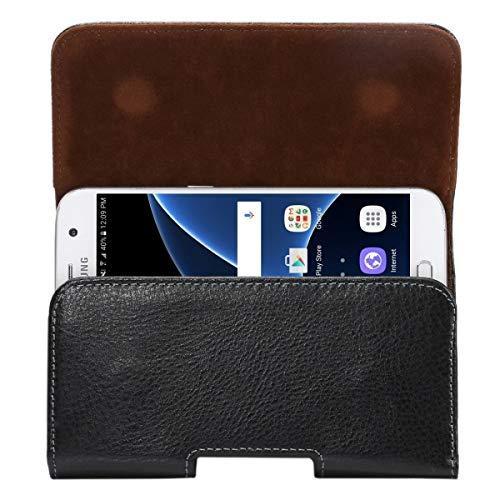 ILS - Funda protectora para iPhone X, Galaxy S7, S6 Edge, S6 y S5, Sony Xperia Z5, Z4 y Z3, Huawei P9 y P8, 5,2 pulgadas, con textura de lichi, apertura vertical, con cierre giratorio