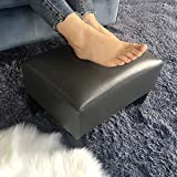 Adeco Footstool Small Faux Leather Seat Ottoman Footrest, Dark Gray