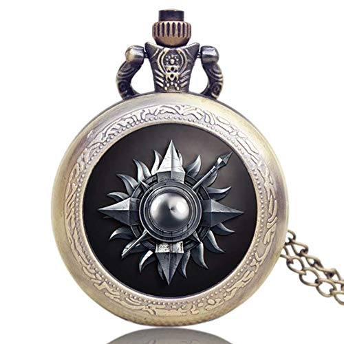 Pequeño Reloj Bolsillo Juego Tronos Casa Martel Tema cúpula Cristal Reloj Bolsillo Collar Colgante Fob Reloj Regalo Navidad