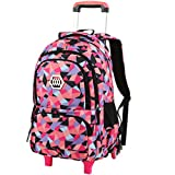 Vbiger Schoolbag Girl on Wheeled School Backpack Elementary Child Oxford Waterproof