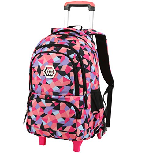 VBG VBIGER Rolling Backpack for Girls Wheeled Backpack Trolley School Bag Travel Luggage