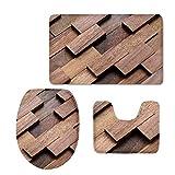 Alfombra de baño con estampado de bambú para baño, alfombra de baño, cubierta de tapa de inodoro (3 piezas), sensación de terciopelo de franela súper suave