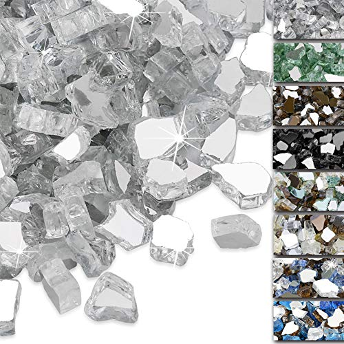 QuliMetal 1/2 Inch Fire Glass, Ultra White High Luster Reflective Tempered Glass Rocks for Indoor Outdoor Fireplaces, Fire Pit, Natural or Propane, Decorative Firepit Glass Pellets, 10 Pound