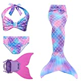Rainbow Swimmable Mermaid Tail Bikini Sets Monofin Swimware Girls Kids Cospaly Gift (Violet DH48, 4)