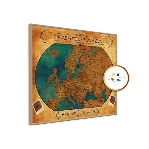 PinDeineWelt - Hochwertige Vintage Style Reise Pinnwand EUROPAKARTE - Pinnwand XXL - Personalisiert mit [Namen] – inkl. ECHTHOLZRAHMEN mit Pins und PERSONALISIERUNG, Größe: 75x100 cm