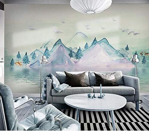 Pintado a mano de tinta paisaje alce papel pintado moderno minimalista TV fondo fondo fondo fondo fondo de pantalla sala de estar dormitorio sin costura pared cubierta decorativo mural*300cmx210cm