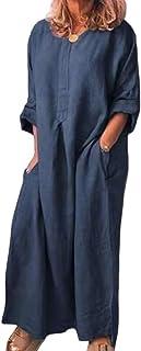 Shallood Estivi Donna Taglie Forti Autunno Vestiti Casual Eleganti Manica Corta Scollo V Cotone E Lino T-Shirt Vestiti Ves...
