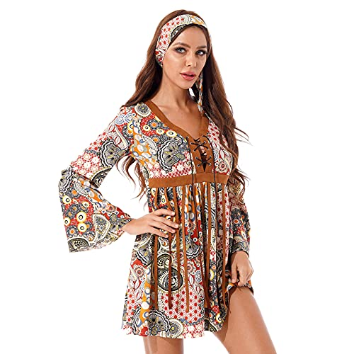 XUNZOO Women's Hippie A-Line Bell Sleeve Fringe Dress with Headband 70s Halloween Costume Multicolor 3X-Large