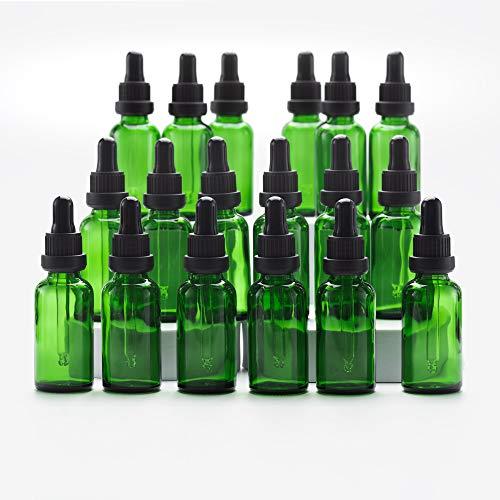 Yizhao Verde Frasco Cuentagotas Cristal 30ml, Botellas Cuentagotas con [Pipeta Cuentagotas Cristal], para Aceite Esencial, Masaje,Fragancia, Aromaterapia, Laboratorio - 18Pcs