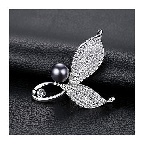 Broche de Niña Tao Traje Temperamento Broche de Mujeres Hoja Broche suéter Pin Versátil Accesorios imitación de la Perla botón de Collar (Color : Grey Pearl)