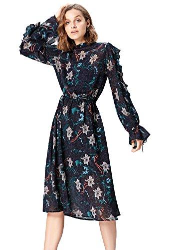 Amazon-Marke: find. Damen Midi-Boho-Kleid mit Blumenmuster, Mehrfarbig (Multicoloured MPR 284), 36, Label: S