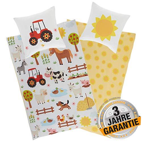 Aminata Kids Kinderbettwäsche Bauernhof-Tiere 135x200 cm + 80x80 cm, Baumwolle mit Reißverschluss, unser Kinder-Bettwäsche-Set mit Tier-Motiv ist bunt, Traktor Pferd, Hund, Esel Sonne