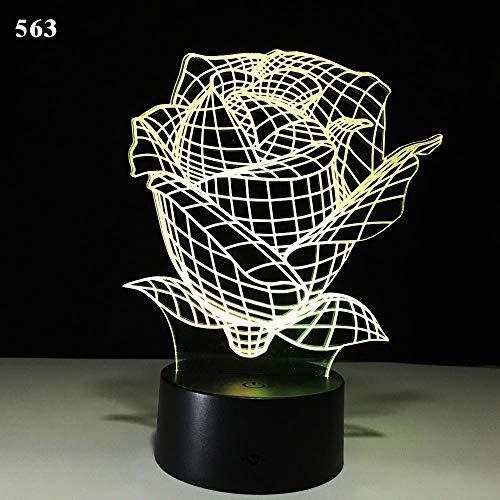 Neue Lotus Romantik Liebe Rose Blume Blatt Baum Pflanzen 3D USB Schreibtisch Tisch Stamp Home Dekoration Led Nachtlicht Blume Vase Nacht Kinder Geschenk