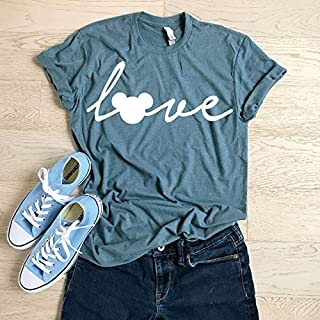 Mickey Mouse Love/SIZE XLARGE/Slate/Hand Screen Printed With Eco Water Based Ink/Disney Love T Shirt/Cool T Shirt/Disney Trip Shirt/Unisex Fit/Crew-Neck Shirt