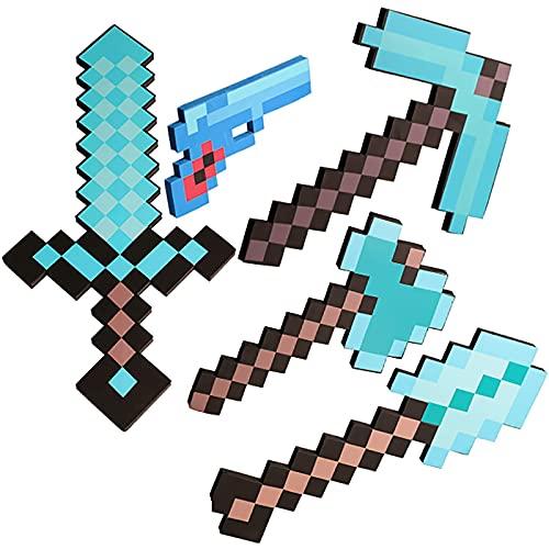 ブルーダイヤモンドソード、フォームトイソード、MCトイセット、マインクラフトピクセルピッカス、ダイヤモンドピクセルガン、スペクタキュラーバトルソード、ダブルアックスアクセサリー、ロールプレイングゲームプロップモデル、キッズベストギフト-Blue||B