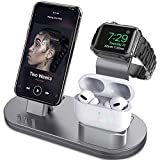 OLEBR 3 in 1 Charging Stand Compatible with iWatch Series 6/SE/5/4/3/2/1, AirPods Pro and iPhone Series 12/11 Series/Xs/X Max/XR/X/8/ 8P/7/7P/6S/6S Plus(Original Charger & Cables Required) Space Gray
